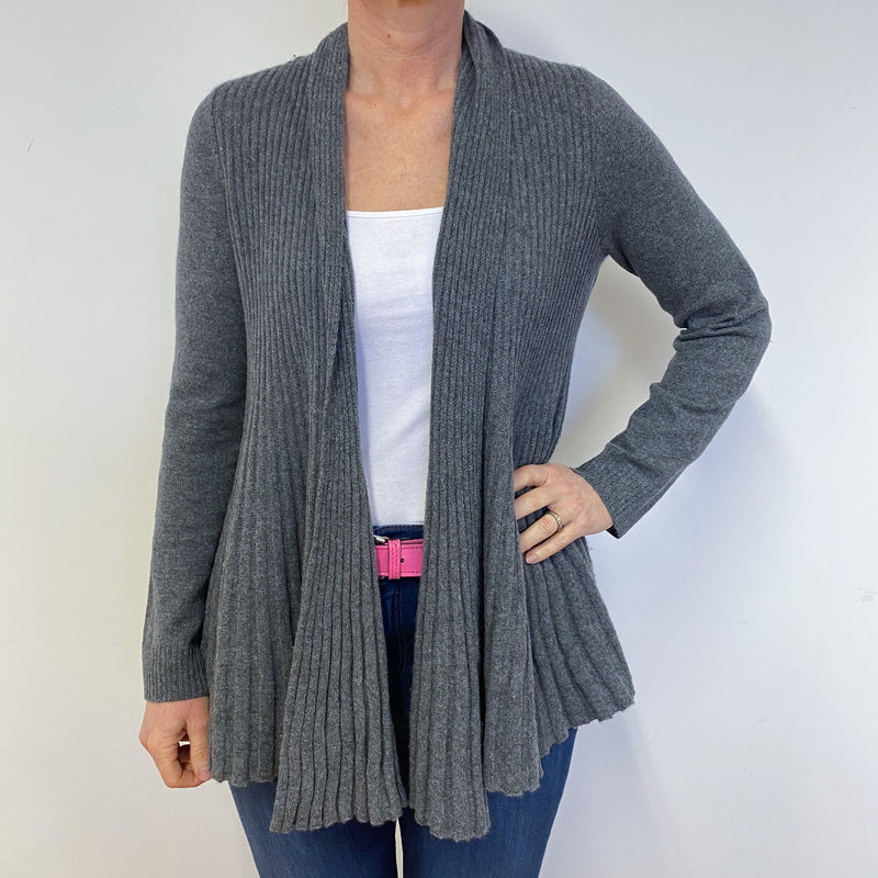 Mid Grey Fit & Flare Long Cardigan Medium