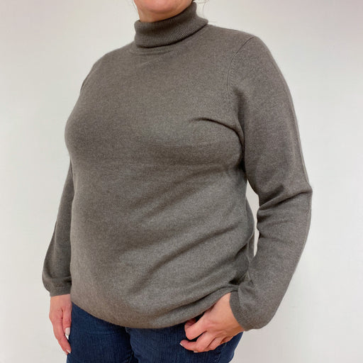 Taupe Polo Neck Jumper Extra Large