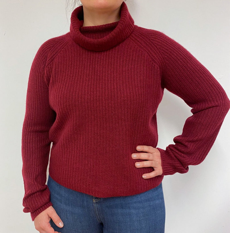 Wine Red Ribbed Boxy Polo Neck Jumper Large