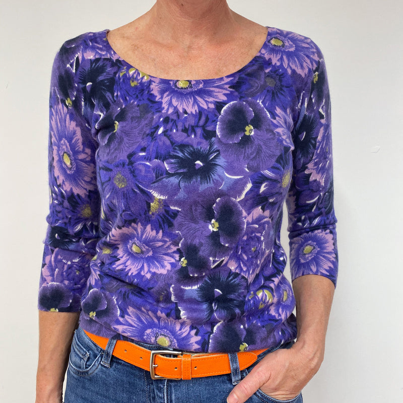 Striking Purple Floral Scoop Neck Jumper Medium