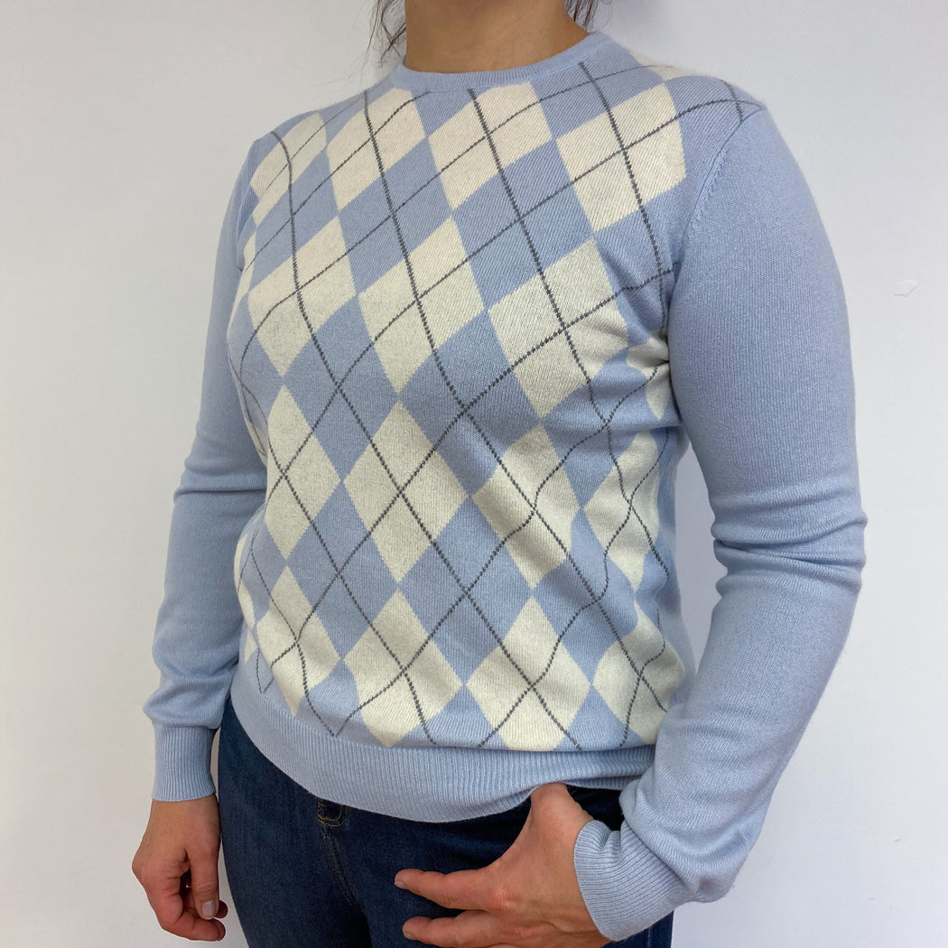 Powder Blue Diamond Crew Neck Jumper Large