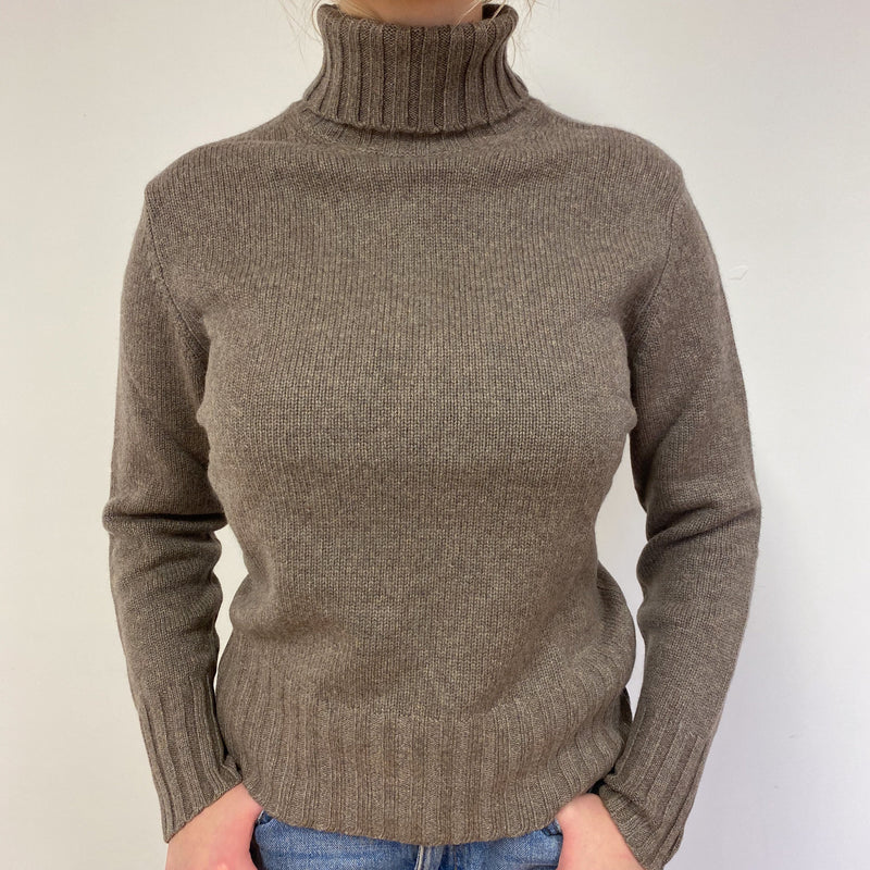 Fantastic Taupe Brown Polo Neck Jumper Medium