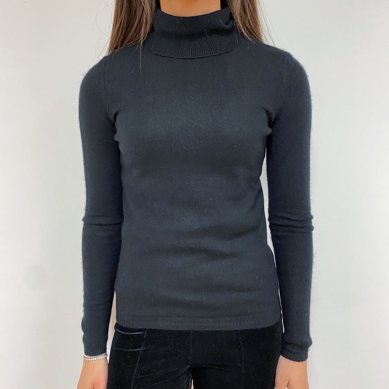 Classic Black Polo Neck Jumper Extra Small