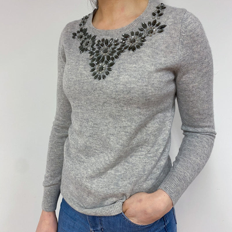 Bejewelled Pale Grey Crew Neck Jumper Small