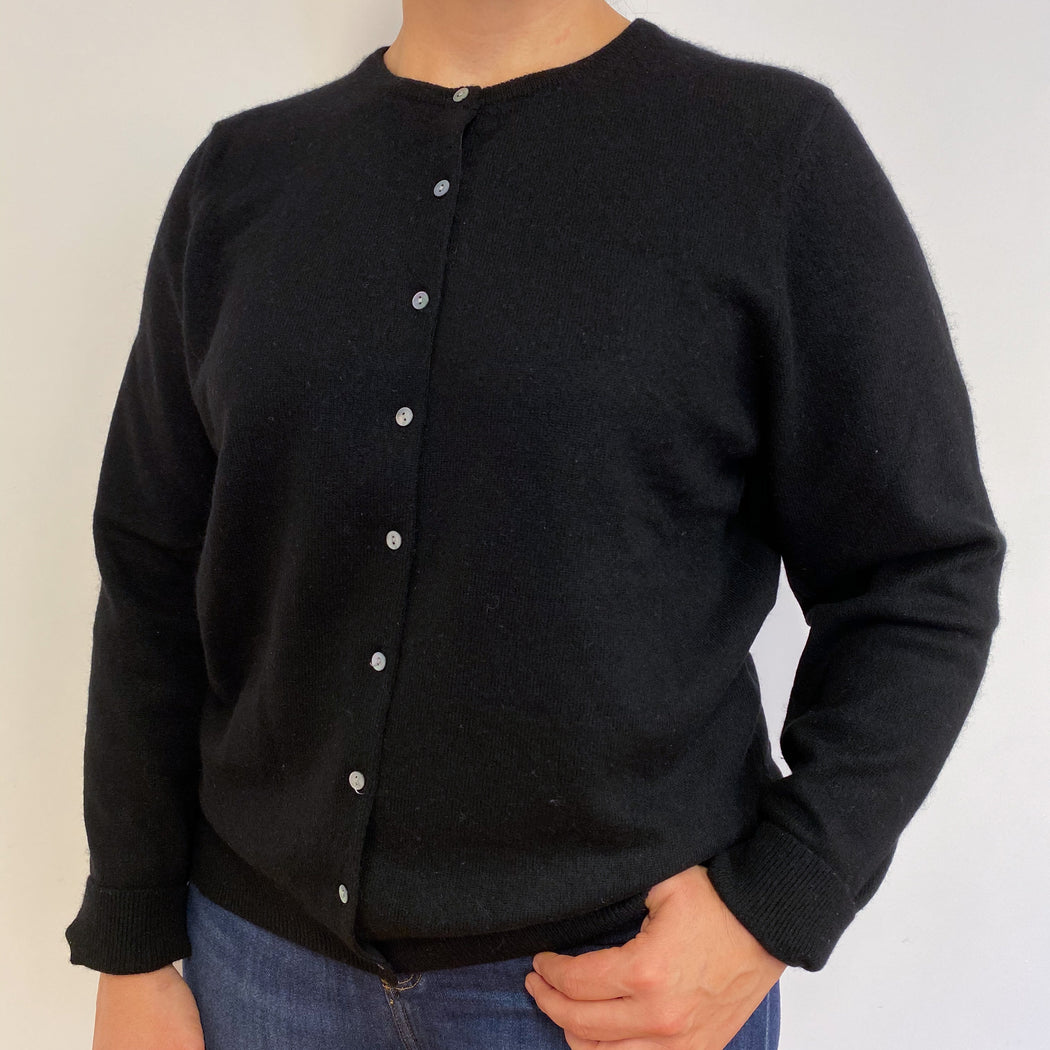 Lovely Black Buttoned Cardigan Large