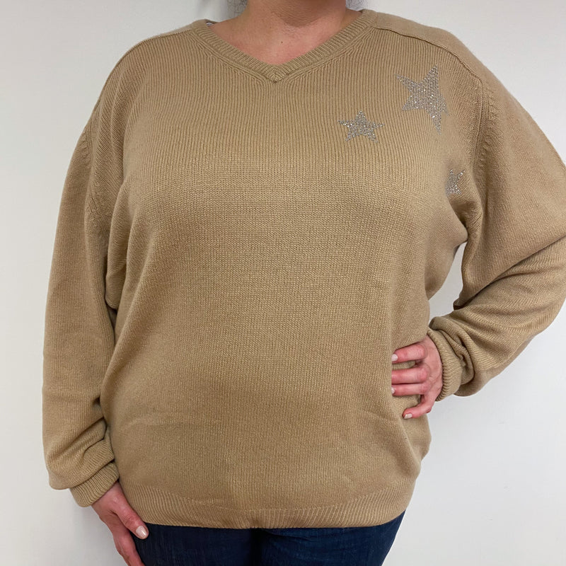 Camel Diamanté Star Men's For Ladies V- Neck Jumper