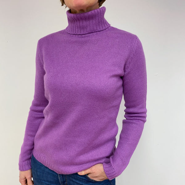 Orchid Chunky Knit Polo Neck Jumper Medium