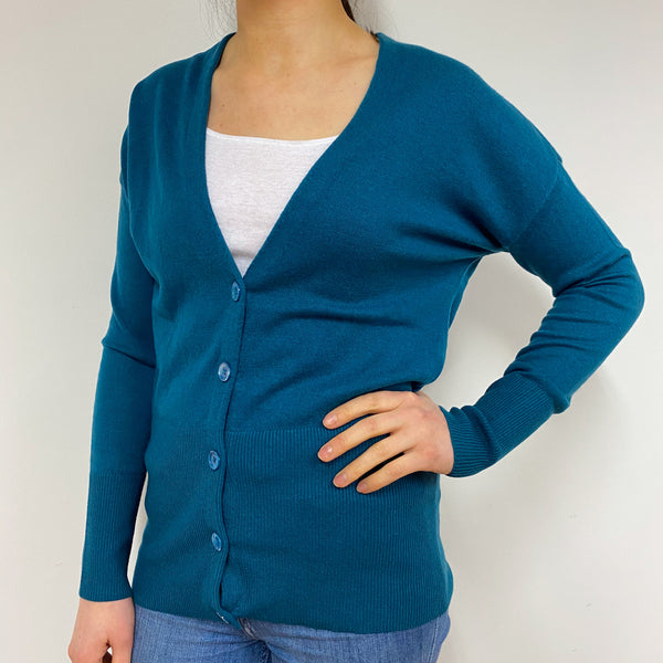 Teal Green V Neck Cardigan Small