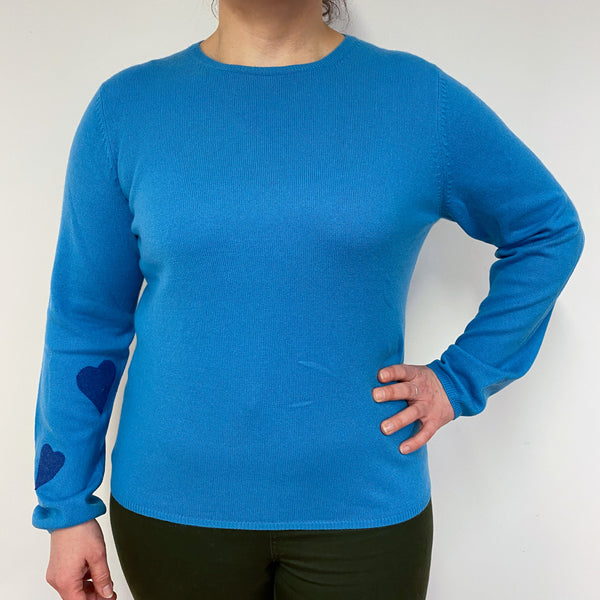 Olympic Blue Heart Detailed Crew Neck Jumper Large