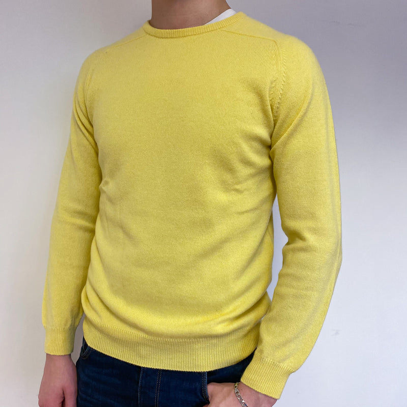 Men's Brand New Lemon Yellow Crew Neck Jumper Medium