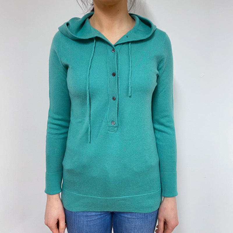 Seafoam Green Button Detail Hoodie Small