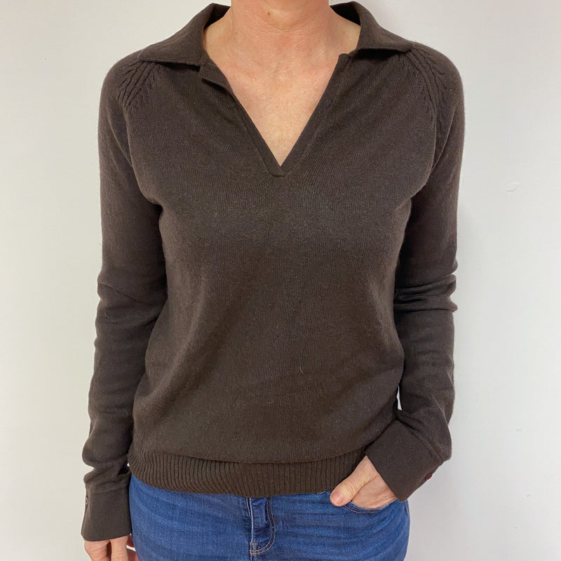 Peppercorn Brown Collared V Neck Jumper Medium