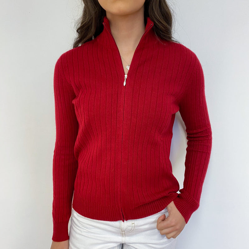 Crimson Ribbed Zip Through Jumper Extra Small