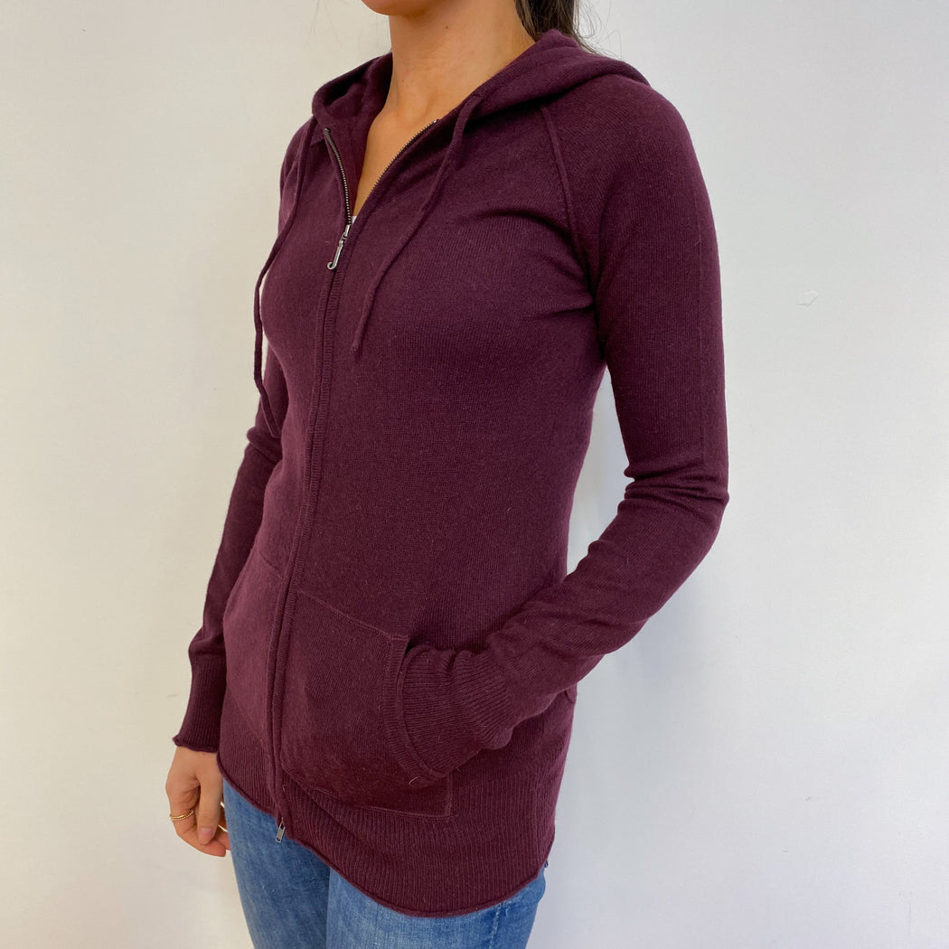 Plum Purple Zip Through Hoodie Small