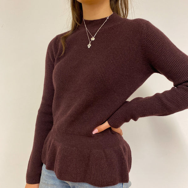 Brand New Plum Peplum Style Crew Neck Jumper Extra Small