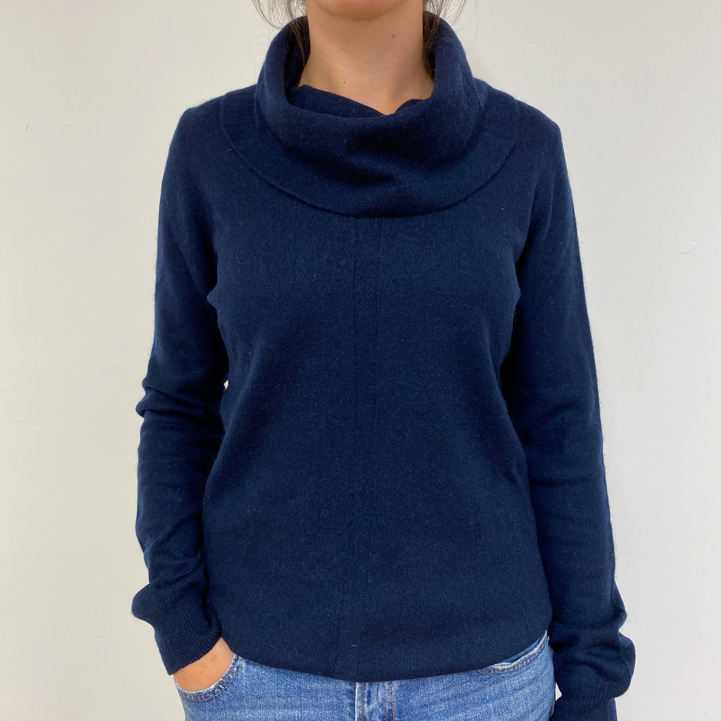 Navy Blue Polo Neck Jumper Medium