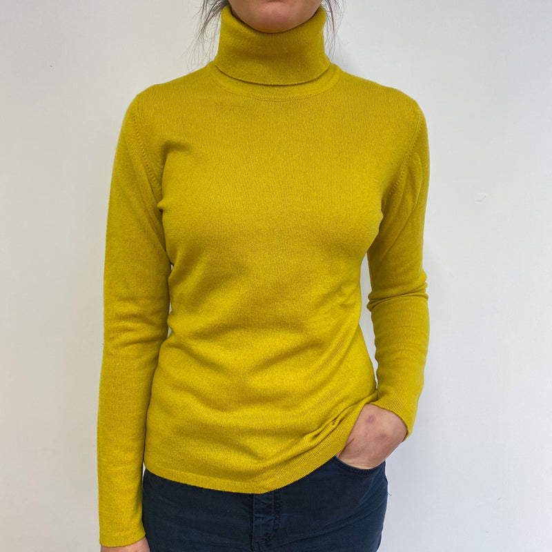 Chartreuse Green Polo Neck Jumper Small