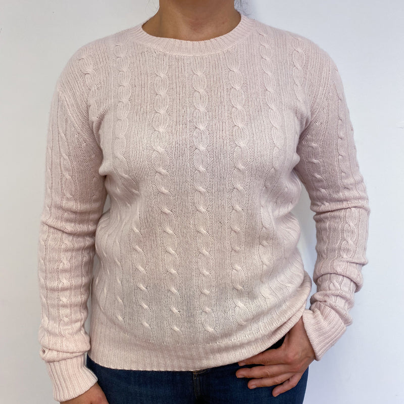 Palest Pink Cable Knit Crew Neck Jumper Large