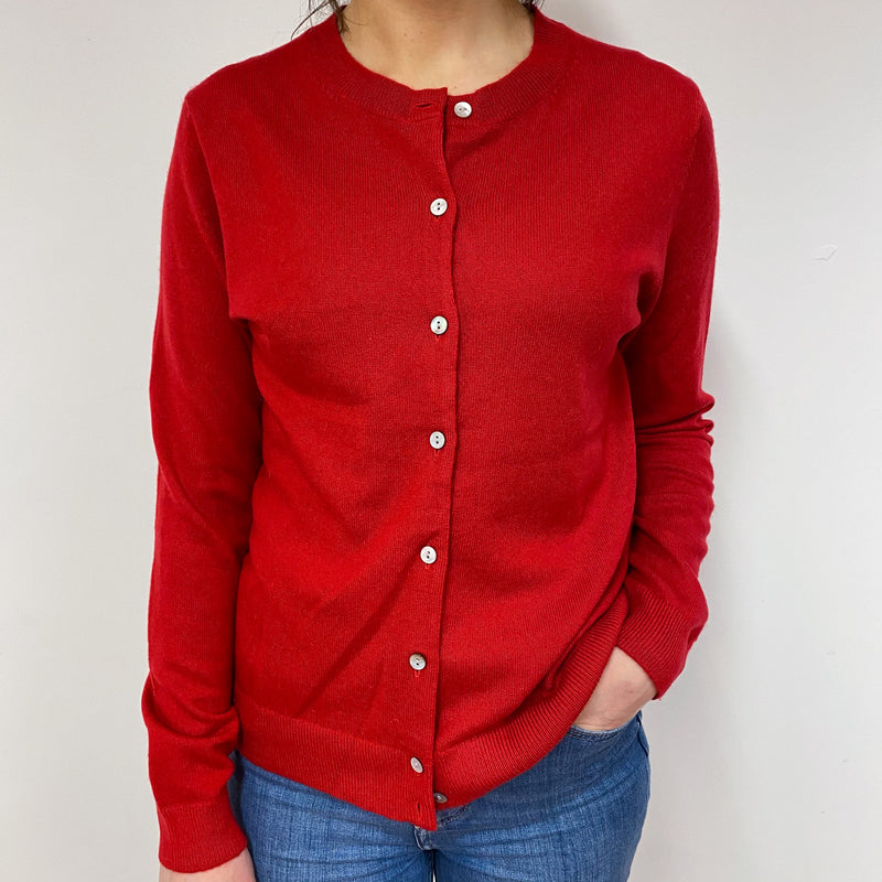 Spanish Red Crew Neck Cardigan Small