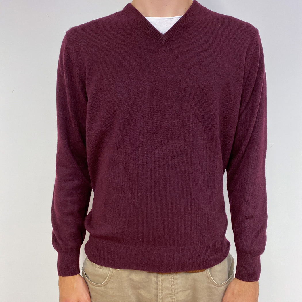 Men's Claret Red V Neck Jumper Medium