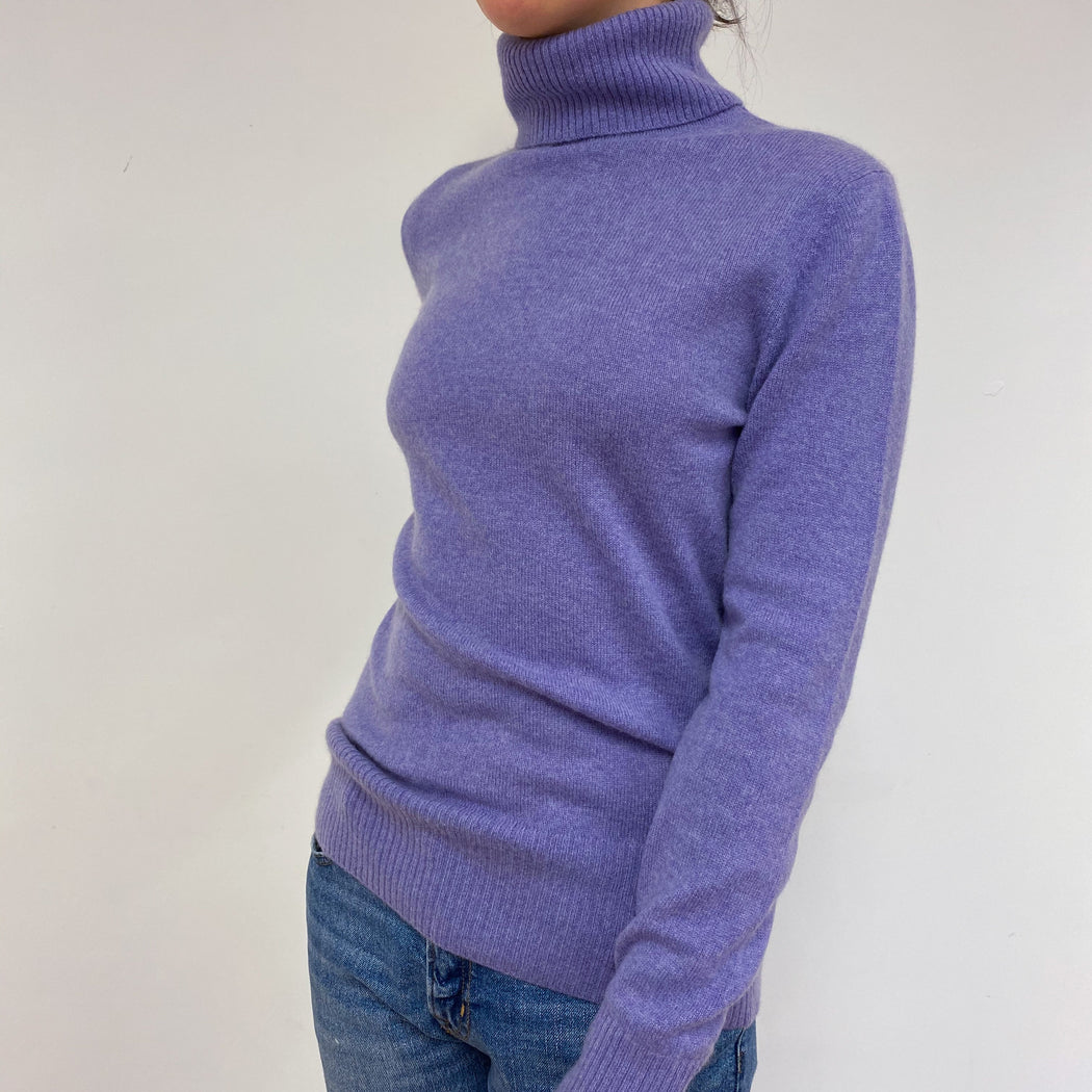 Fabulous Lilac Purple Polo Neck Jumper Medium