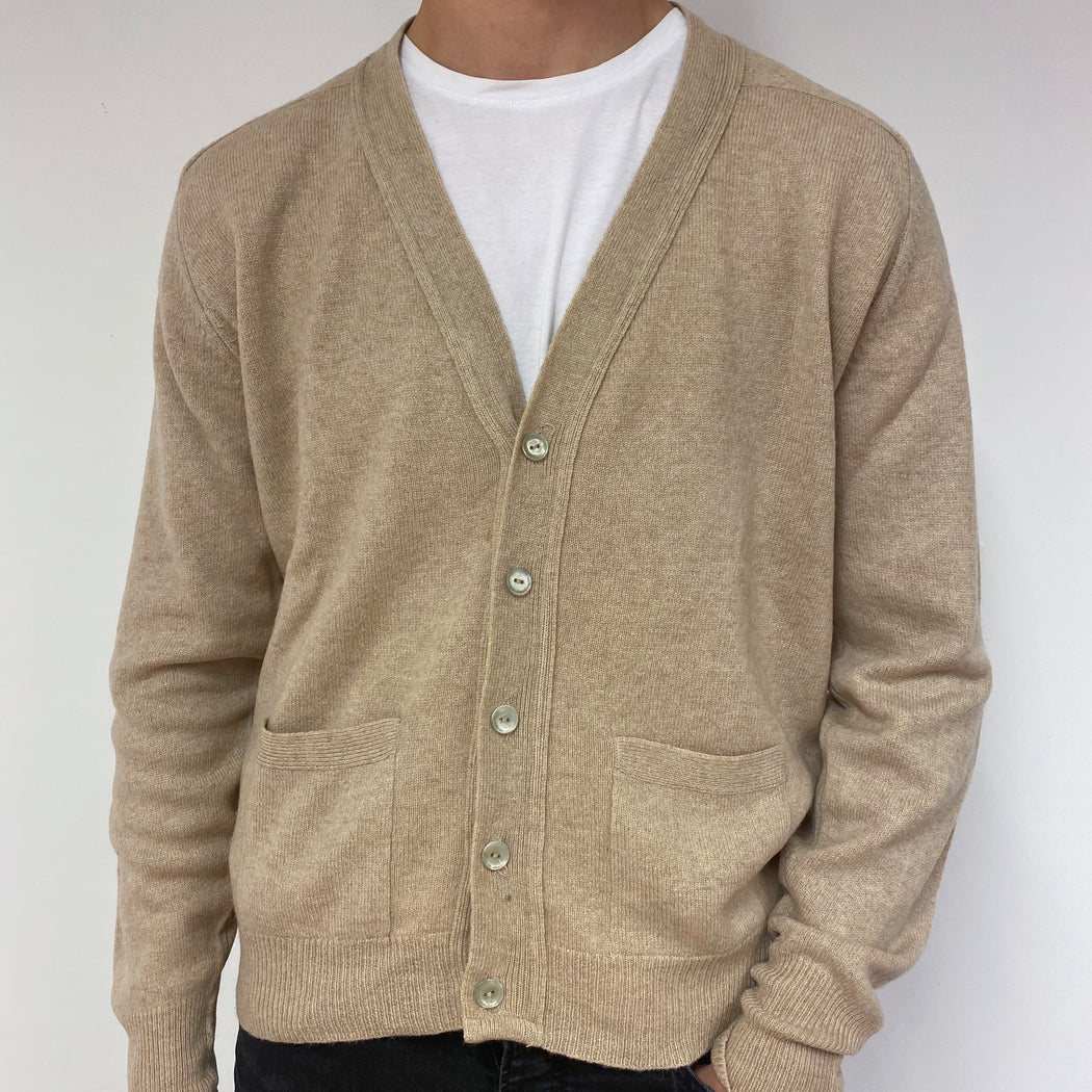 Men's Camel V Neck Vintage Cardigan Large