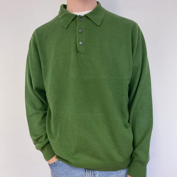 Men's Fern Green Polo Collared Jumper Large