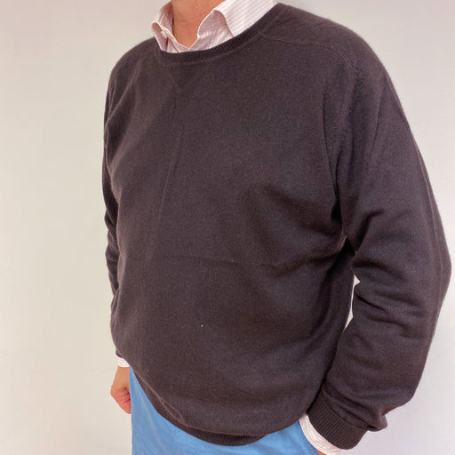 Men's Darkest Brown Crew Neck Jumper XL
