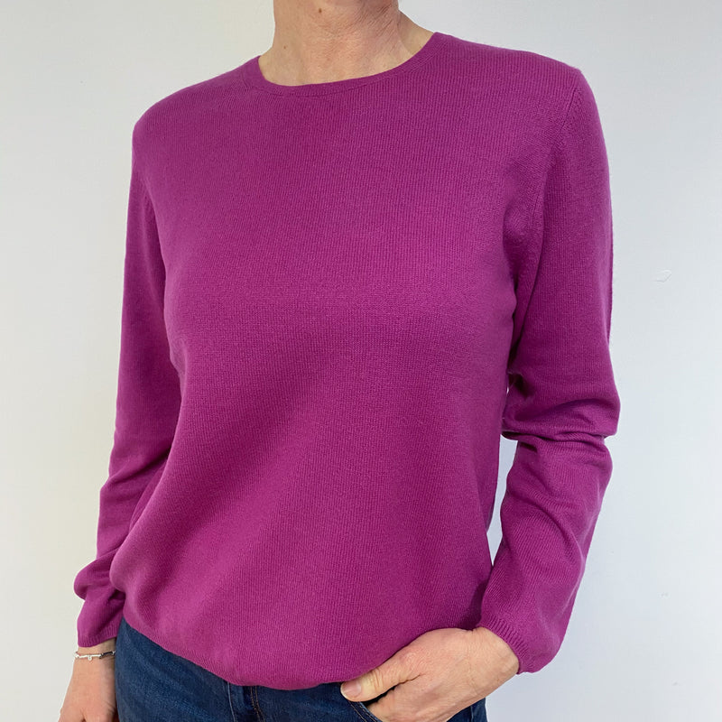 Magenta Pink Crew Neck Jumper Medium