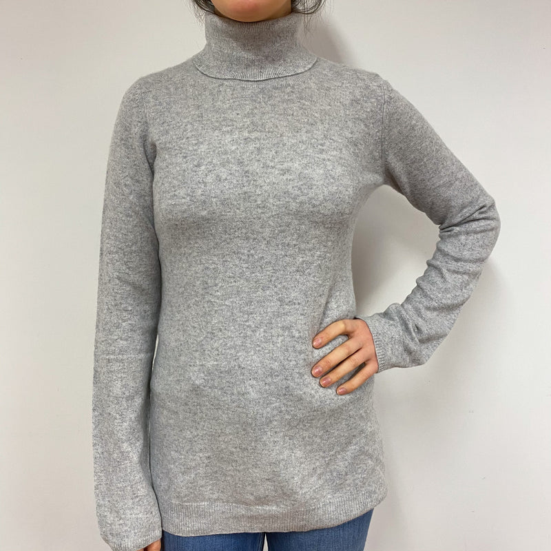 Pale Grey Longer Style Polo Neck Jumper Small