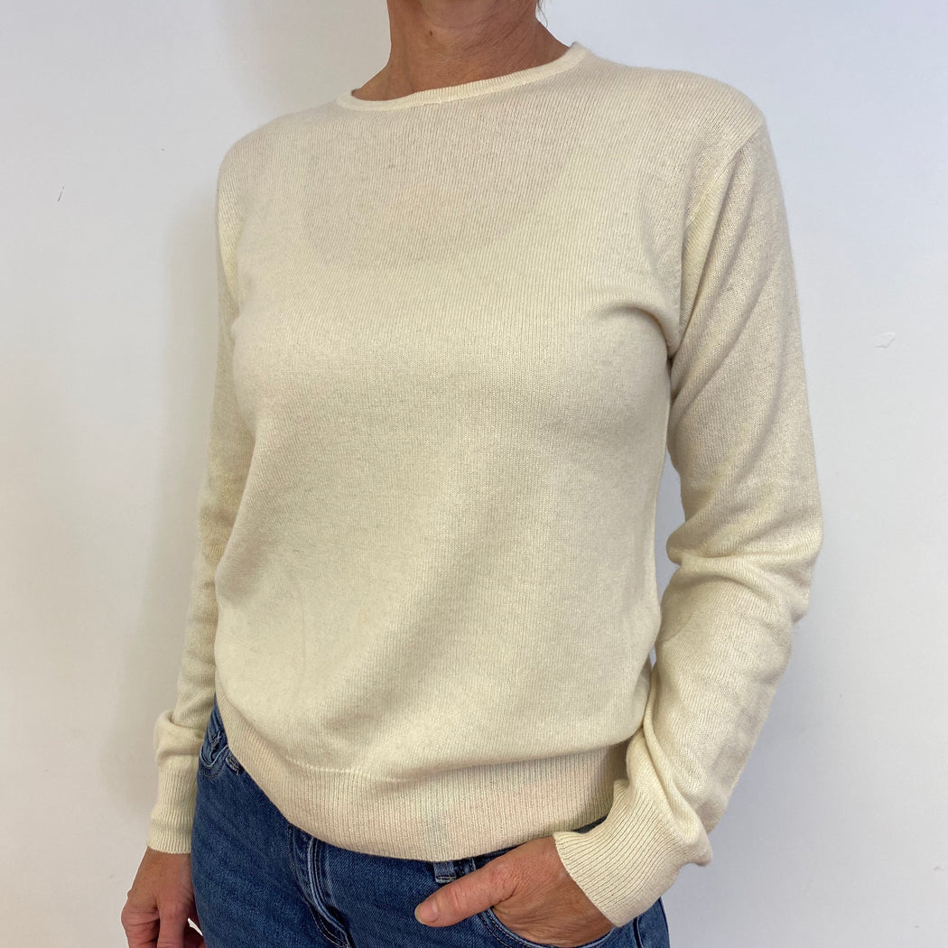 Winter White Crew Neck Jumper Medium