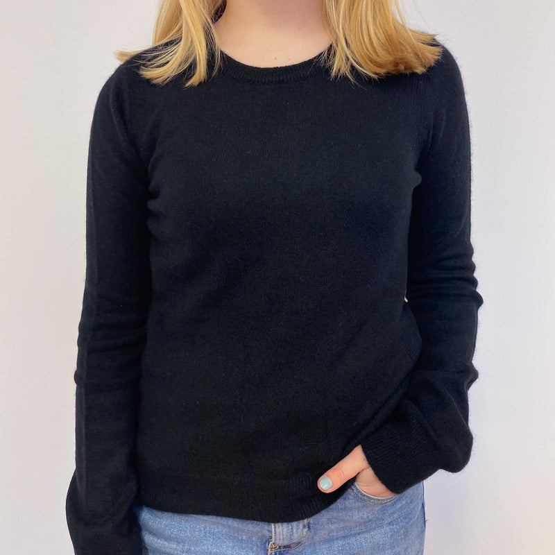 Hilfiger Black Ribbed Detail Crew Neck Jumper Small
