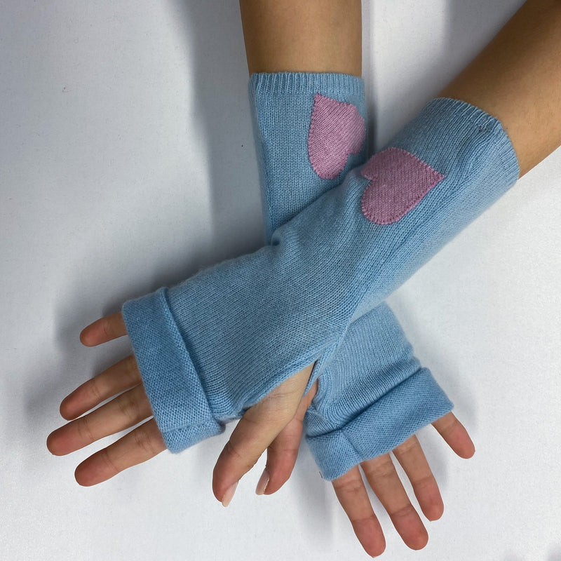 Sky Blue and Pink Heart Detailed Fingerless Gloves