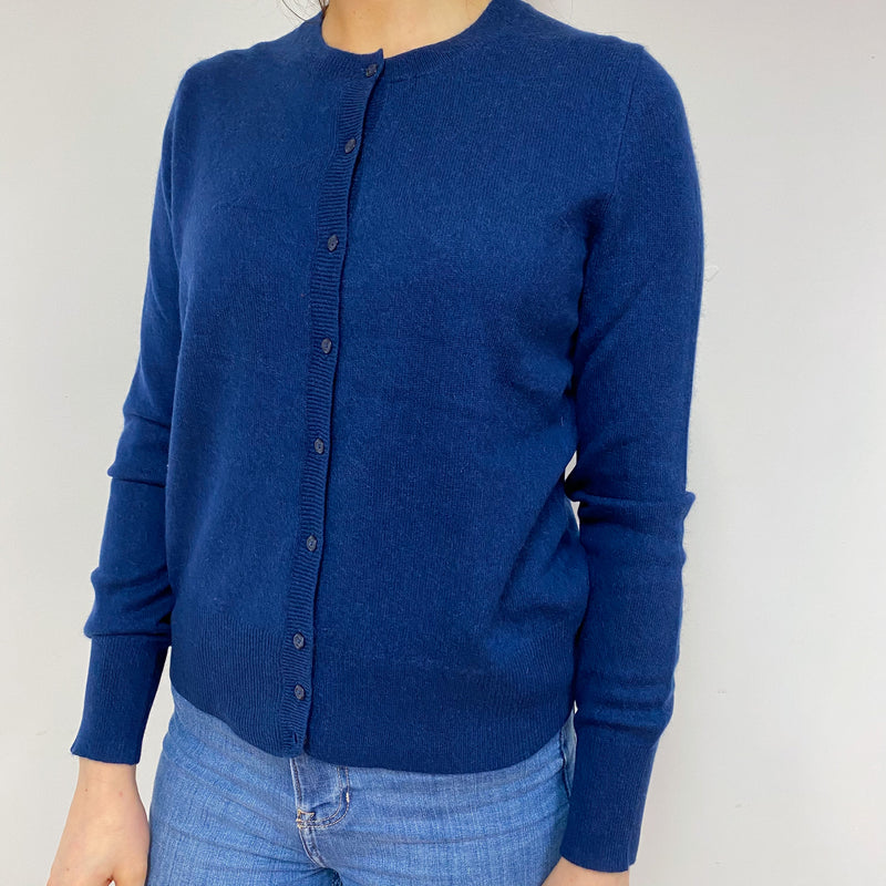 Navy Blue Crew Neck Cardigan Small