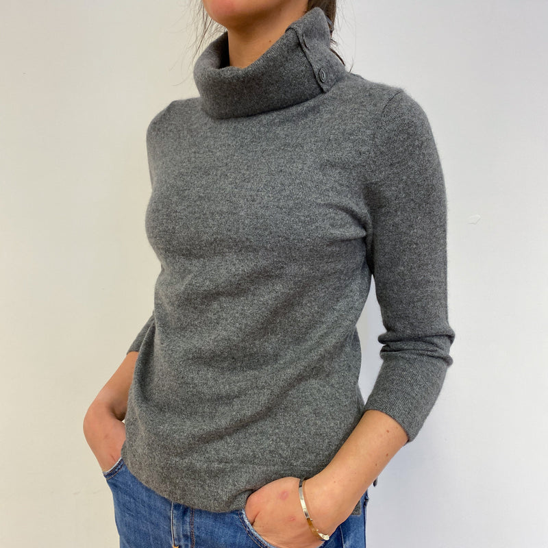 Gorgeous Mid Grey Polo Neck Jumper Small