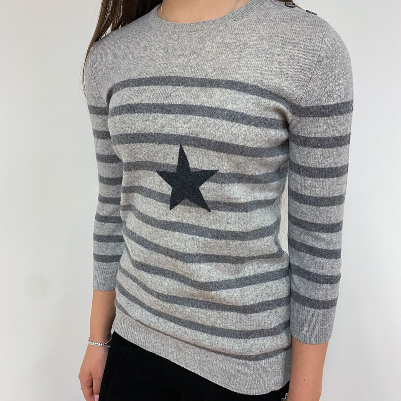 Grey Stripe and Star Detailed Crew Neck Jumper Extra Small