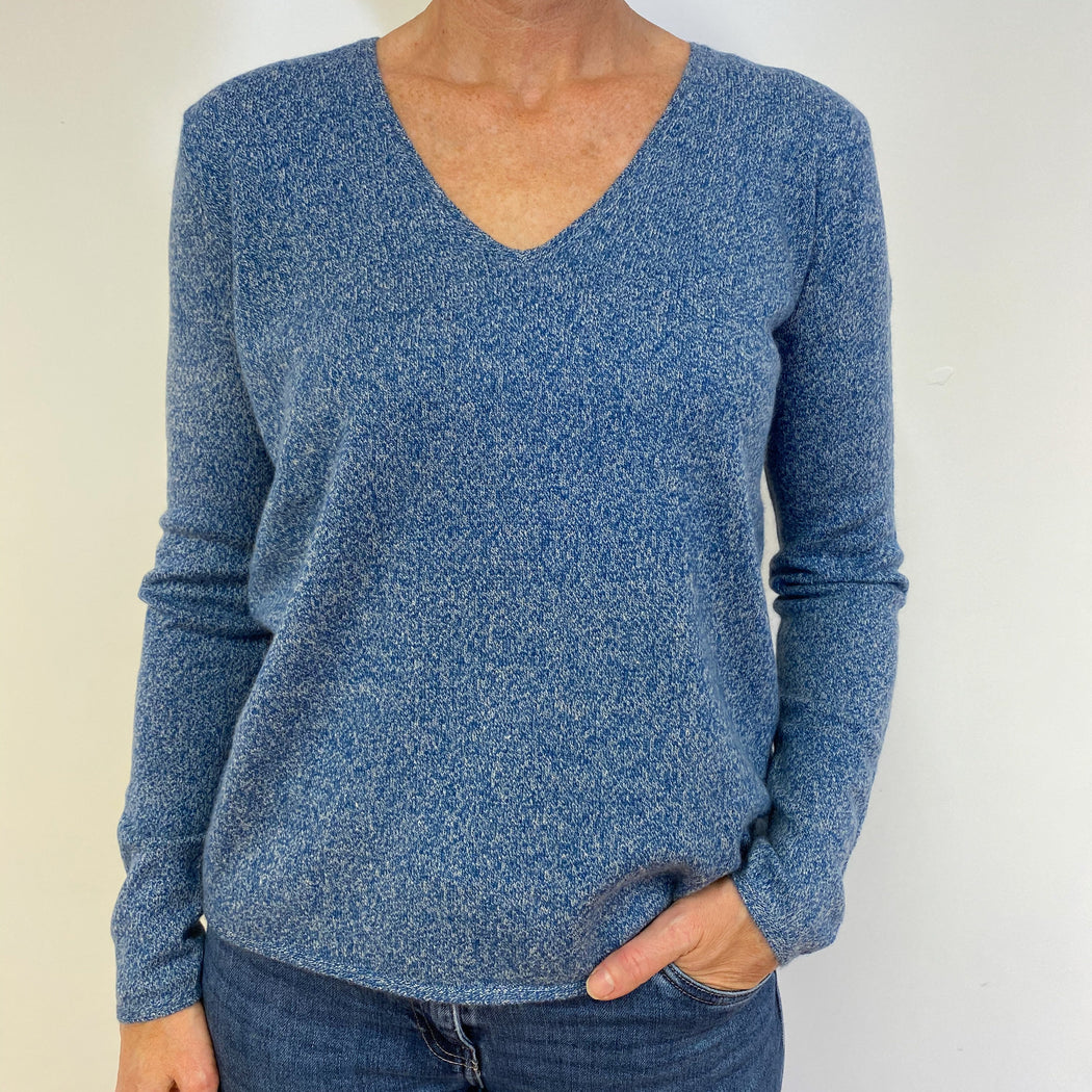Denim Blue Marl V Neck Jumper Medium