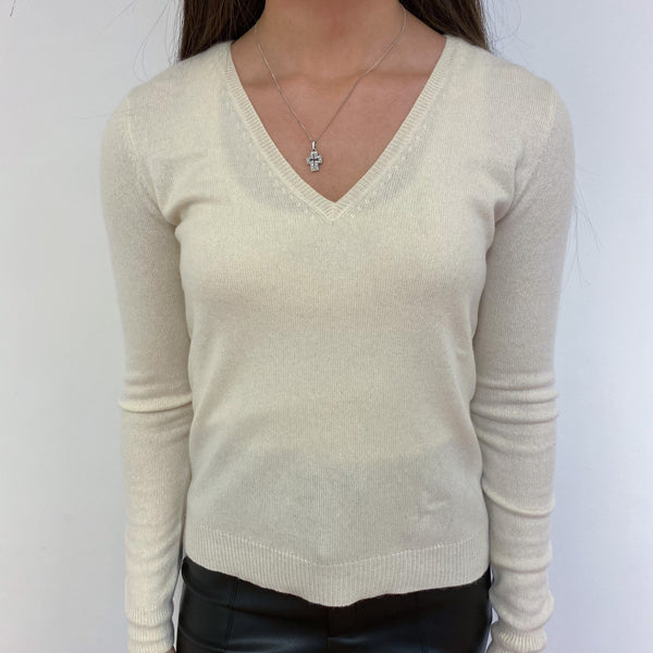 Clotted Cream V Neck Jumper Extra Small
