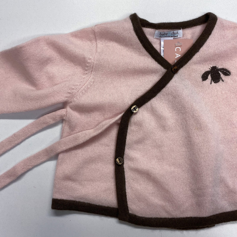 Children's Pink and Brown Bee Cardigan 12-18 Months