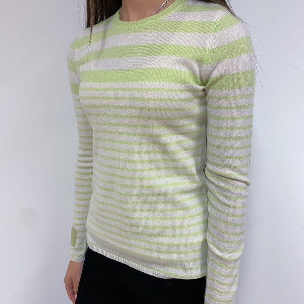 Lime and Ivory Stripe Heart Detailed Crew Neck Jumper Extra Small
