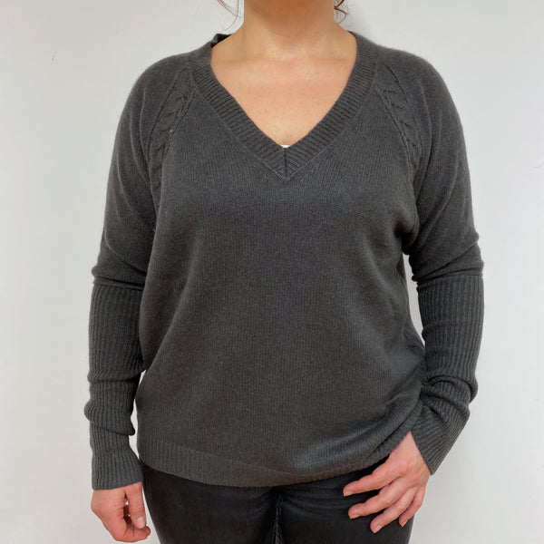Espresso V Neck Tunic Style Jumper Large