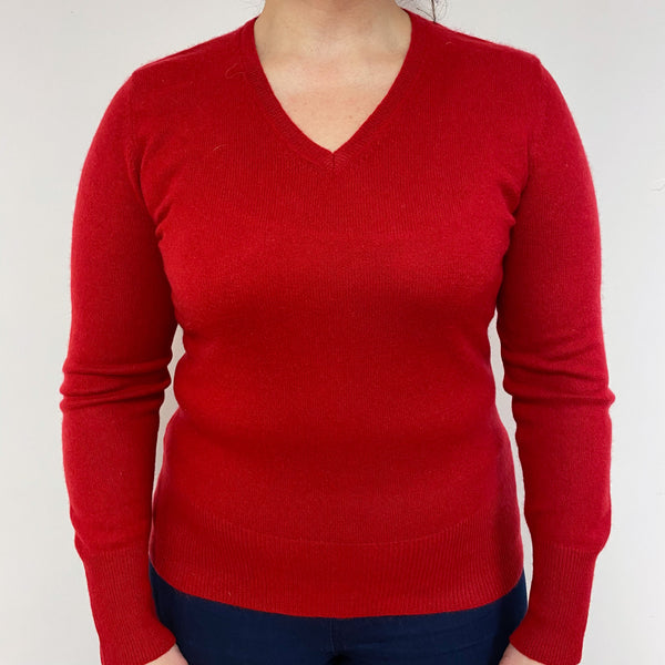Ruby Red V Neck Jumper Large