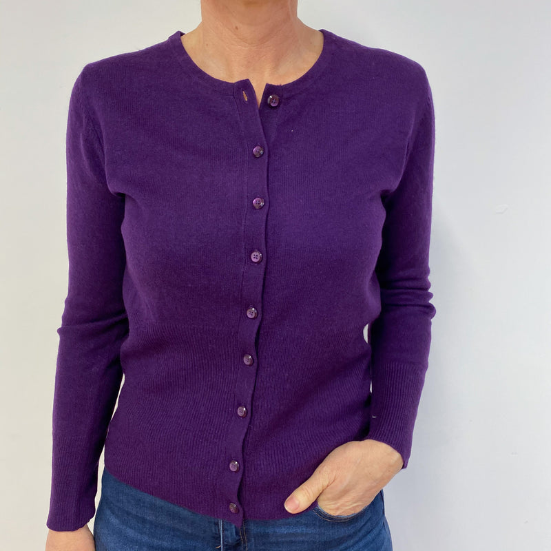 Iris Purple Crew Neck Cardigan Medium