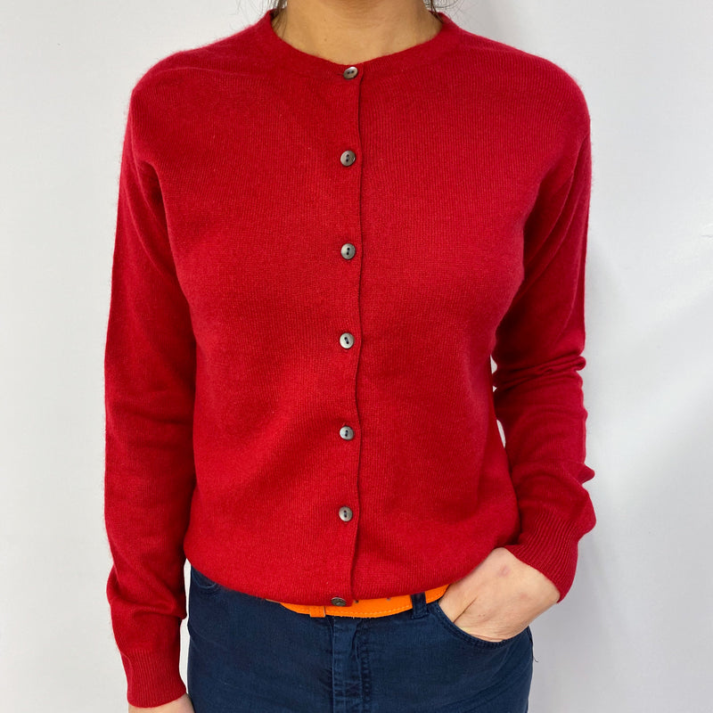 Postbox Red Crew Neck Buttoned Cardigan Small
