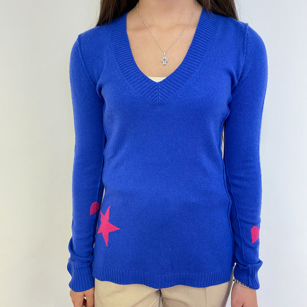 Azure Blue Star V Neck Jumper Extra Small