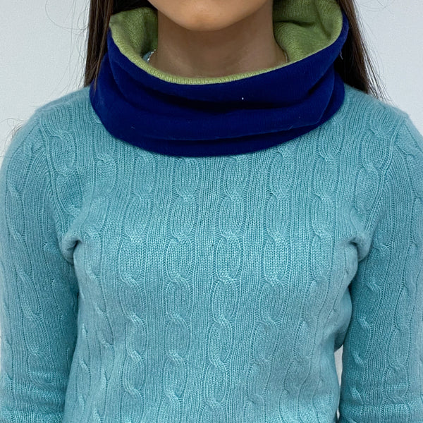 Deep Blue and Olive Green Neck Warmer