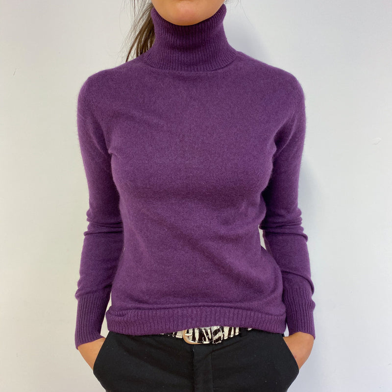 Fantastic Purple Polo Neck Jumper Small