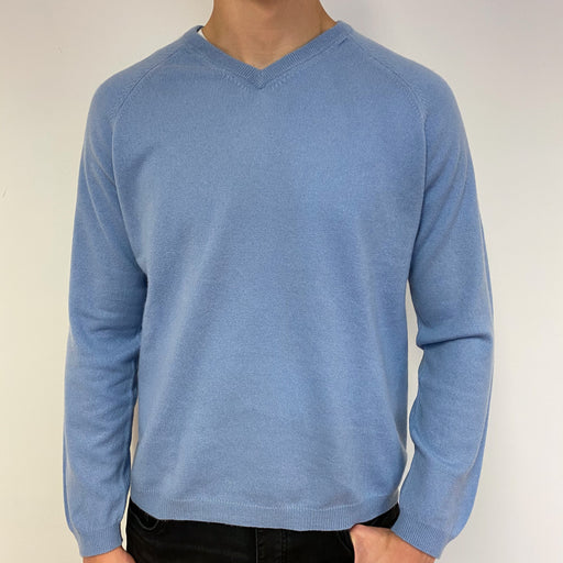 Men's Sky Blue V Neck Jumper Large