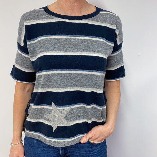 Blue Striped Tunic Style Jumper Small