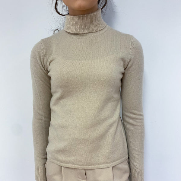 Sand Polo Neck Jumper Extra Small